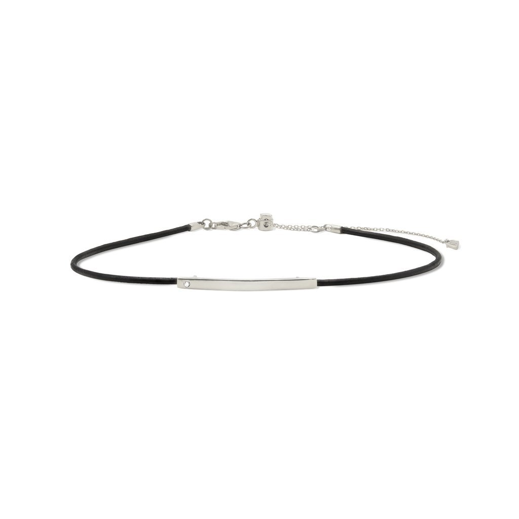 Camille Jewelry - Theia collection, rhodium plated sterling silver leather choker. Made in NYC. Free shipping, USA