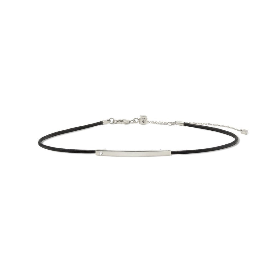 Rhodium plated plaque choker necklace on leather cord. Shop Camille Jewelry.