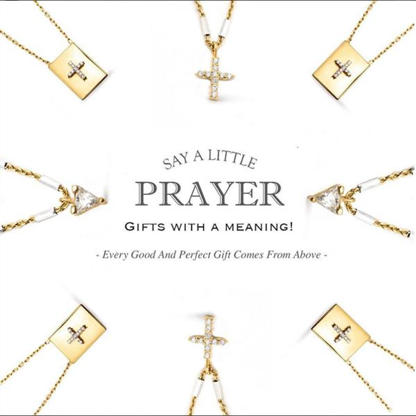 Camille Jewelry- Say a little prayer collection. Sterling silver and gold plate pave cross and trillion stone mini pendants. Free Shipping