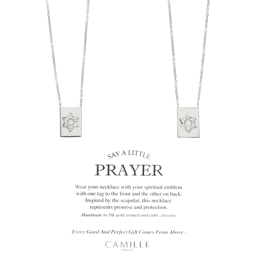 "Camille Jewelry - Star of david, sterling silver modern scapular necklace with cubic zirconia. Free Shipping Camille Jewelry - Say a little prayer - Star of David - carded- Bringing a fresh perspective to the inspired scapular necklace! Created with fine jewelry detailing in sterling silver. 26"" chain with double plaque Star of David in cubic zirconia.  Wear one plaque to the front and the other to the back. Symbolizes faith and protection. Receive carded, perfect for gift giving!  Free shipping"