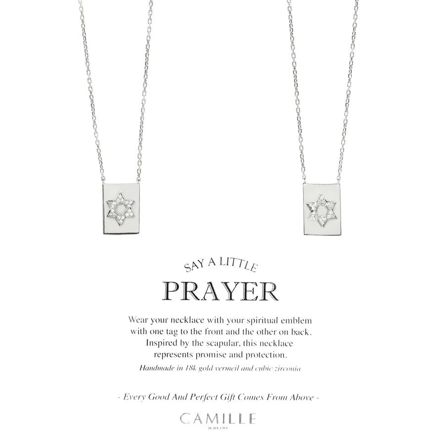 Camille Jewelry - Star of david, sterling silver modern scapular necklace with cubic zirconia. Free Shipping Camille Jewelry - Say a little prayer - Star of David - carded- Bringing a fresh perspective to the inspired scapular necklace! Created with fine jewelry detailing in sterling silver. 26