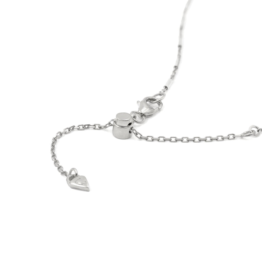 Sterling silver chain slider function to adjust necklace length at Camille Jewelry.