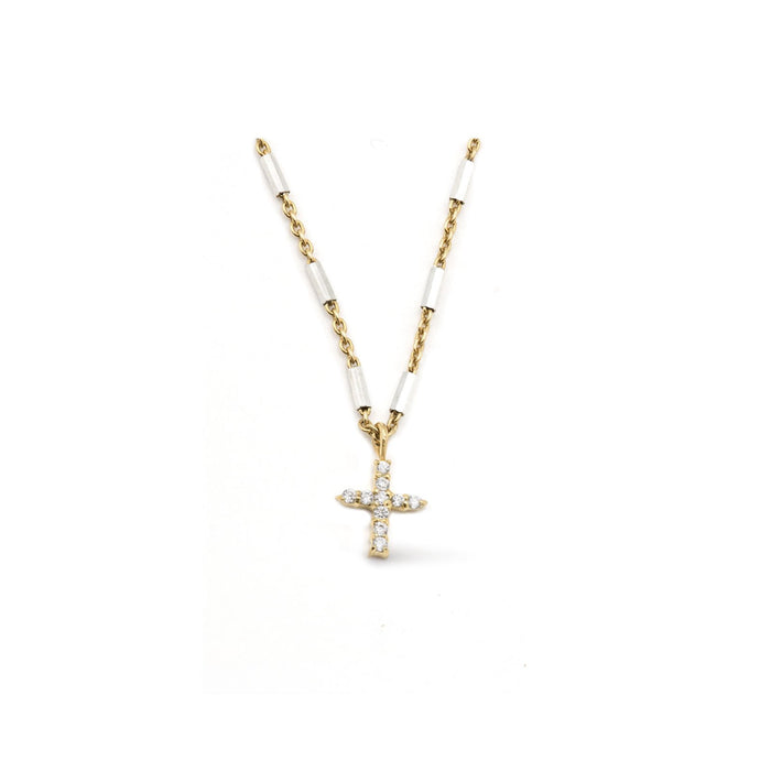 Camille Jewelry - Say a little prayer collection - pave cross image - Show your faith, express your love and count your blessings! Unique, delicate and perfect for a gift!  Two- tone faceted skinny tube chain in gold plated/ sterling silver with pave cross in cubic zirconia. Designed with our signature push button slider to adjust length of necklace. free shipping
