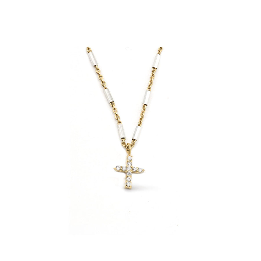 Pave cross necklace on two tone chain from Camille Jewelry. Perfect for gift giving. FREE shipping.