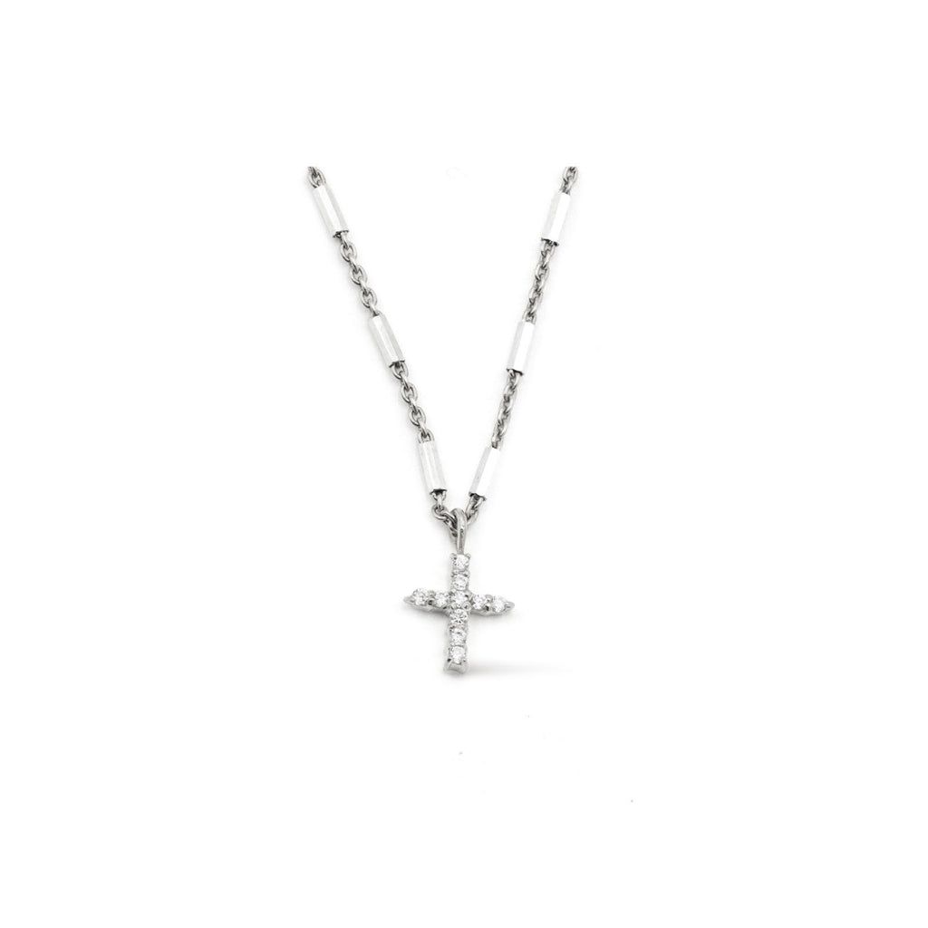 Camille Jewelry - Say a little prayer collection - pave cross- Show your faith, express your love and count your blessings! Unique, delicate and perfect for a gift!  Faceted skinny tube chain in sterling silver with pave cross in cubic zirconia. Designed with our signature push button slider to adjust length of necklace. free shipping!