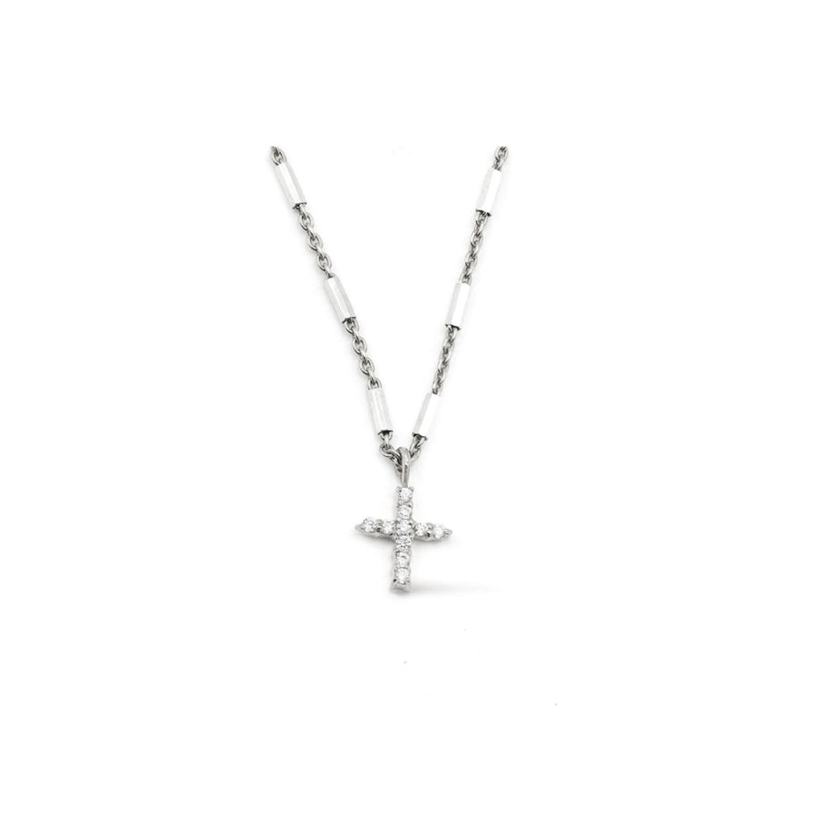 Rhodium plated sterling silver pave cross necklace from Camille Jewelry.