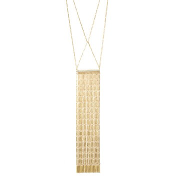 Gold plated fringe necklace with pave bar at Camille Jewelry.