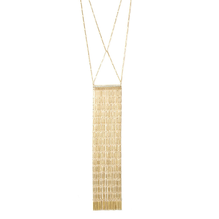 Camille Jewelry- Anuket Collection gold plated fringe necklace with pave bar. Free shipping. Made in NYC, USA.