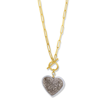Druzzy heart necklace with toggle bar center in 14k gold filled paperclip chain | Camille Jewelry