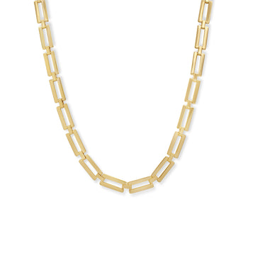 Camille Jewelry- Ares rectangular gold linked necklace. Made in nyc, free shipping