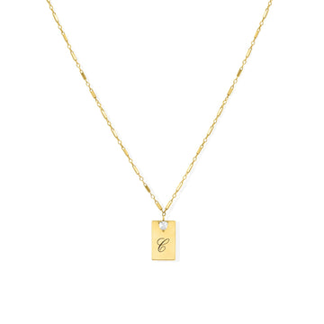 Camille Jewelry - Personalize your gold filled rectangular pendant with font of your choice.
