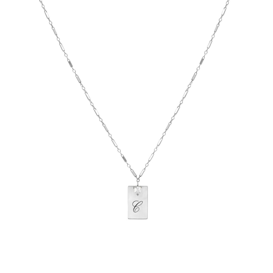 Camille Jewelry - Personalize your sterling silver rectangular pendant with font of your choice.