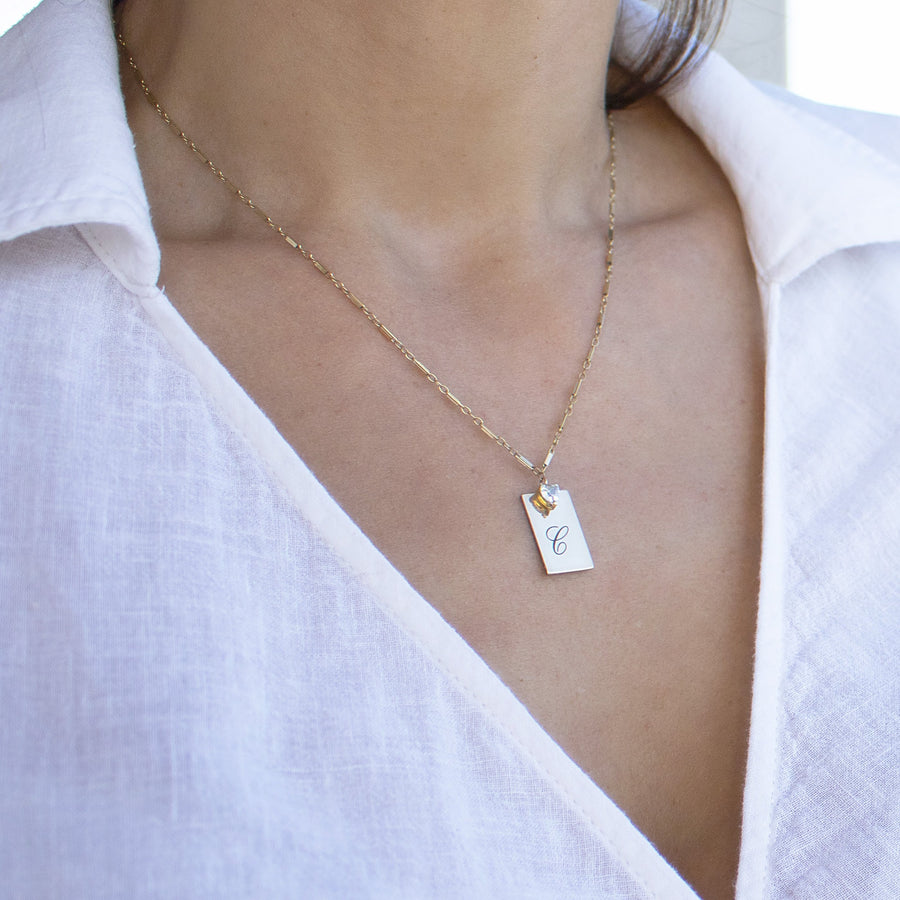 Best Seller Gold Filled rectangular necklace| Personalize with engraving| Camille Jewelry