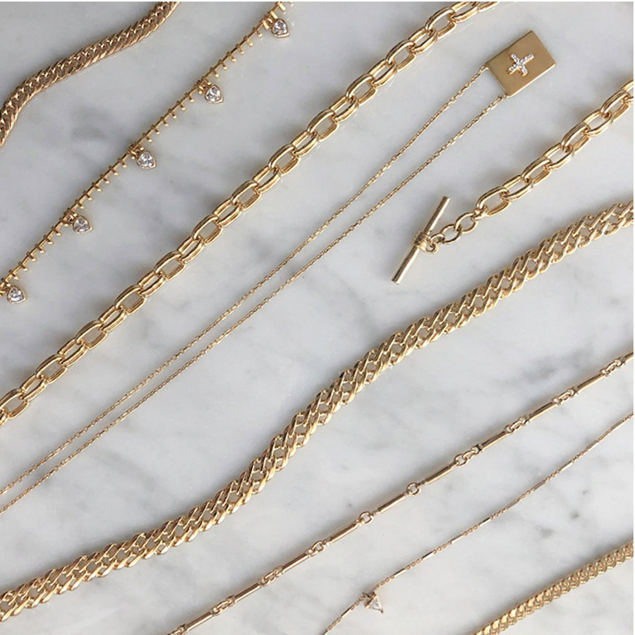 Shop Camille Jewelry chain link gold necklaces from the Ares Collection.