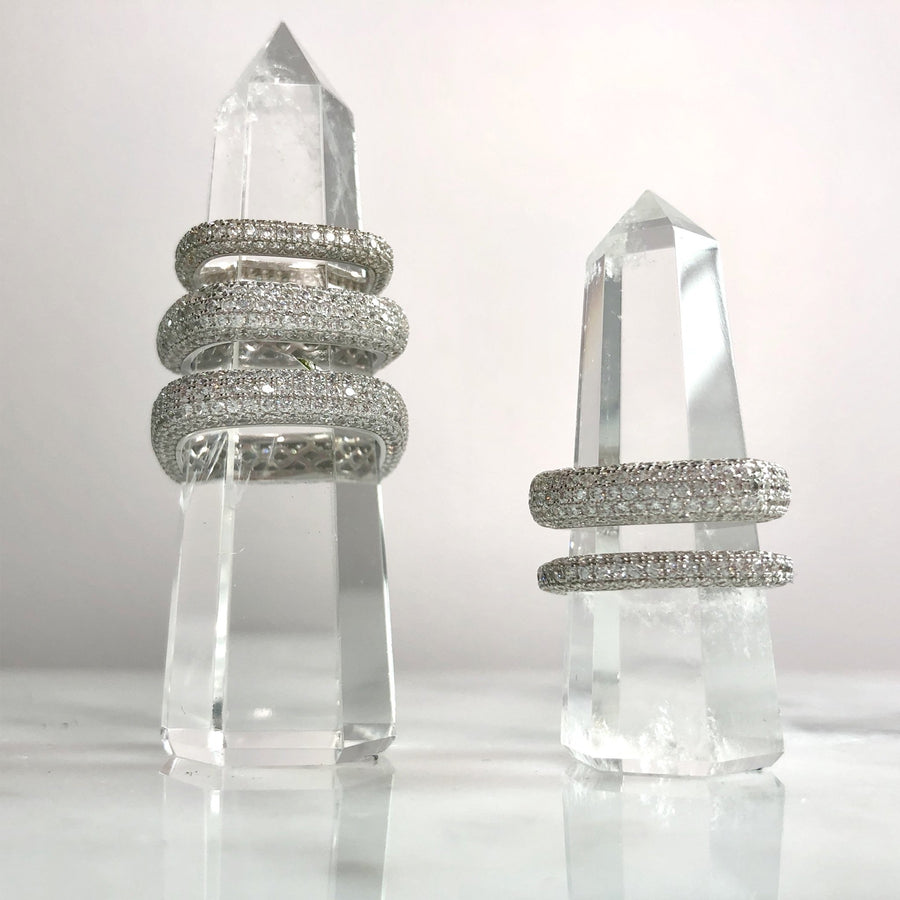 Shop womens sterling silver square ring stack at Camille Jewelry. Free Shipping