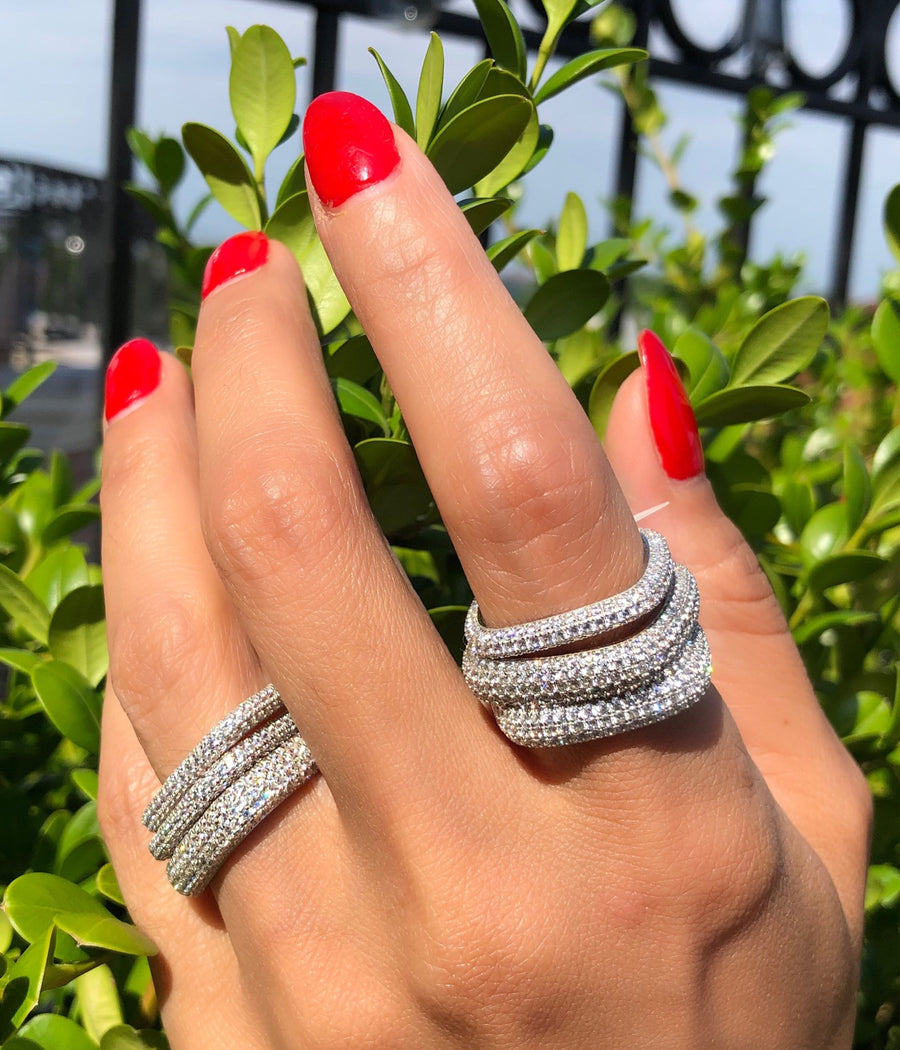 Soft square edge pave ring at Camille Jewelry