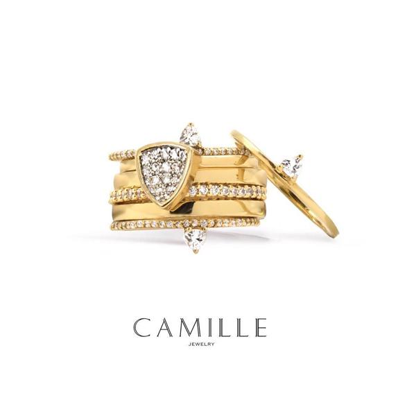 Gold plated stack fashion rings in brass and sterling silver from Camille Jewelry.