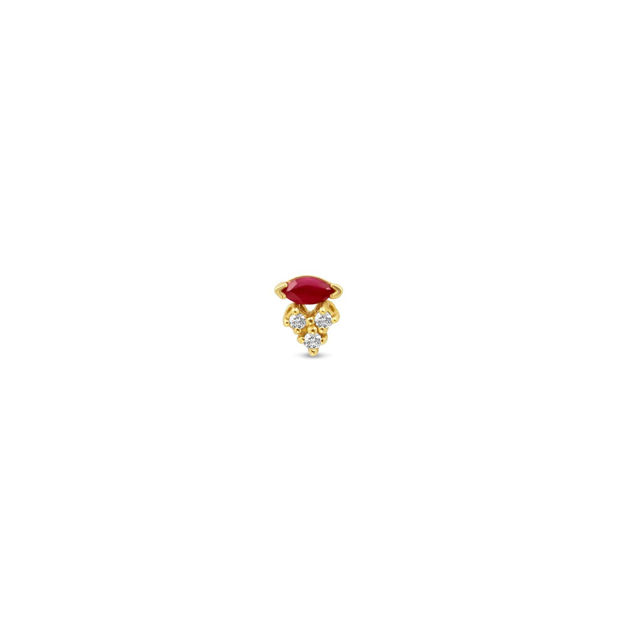 Ruby and triple diamond gold stud earring | Camille Jewelry
