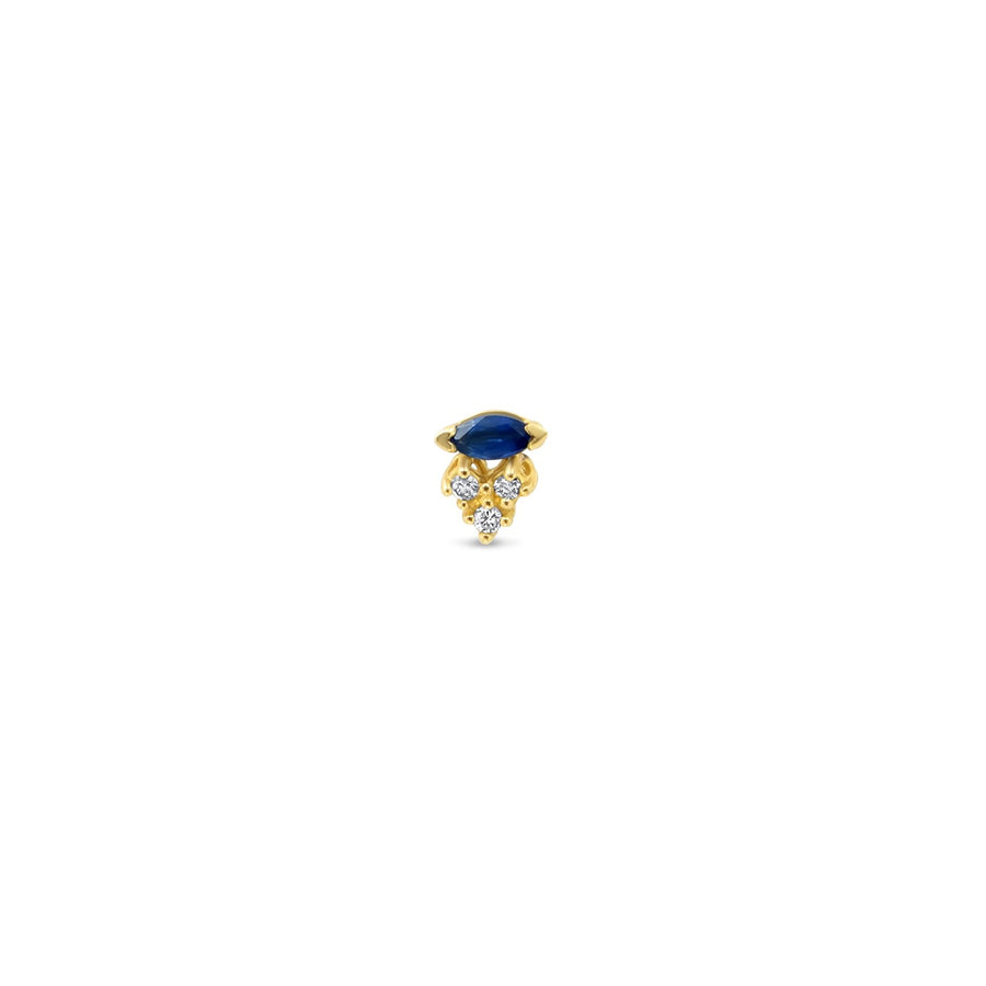 Sapphire and triple diamond stud gold earrings | Camille Jewelry