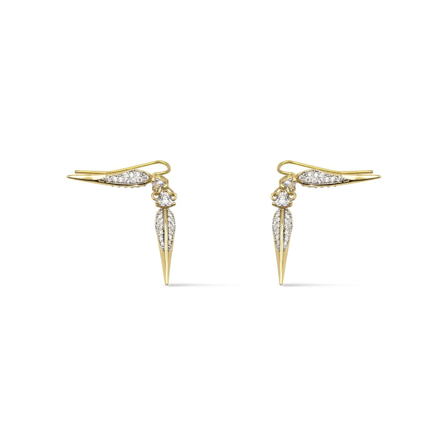 Elegant ear crawler design earring. Gold plated with cubic zirconia from Camille jewelry