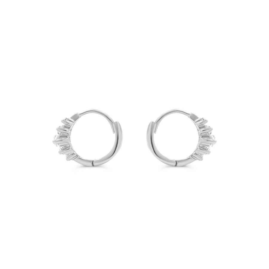 Camille Jewelry- sterling silver baguette hinged hoop earring. Free Shipping with in USA.