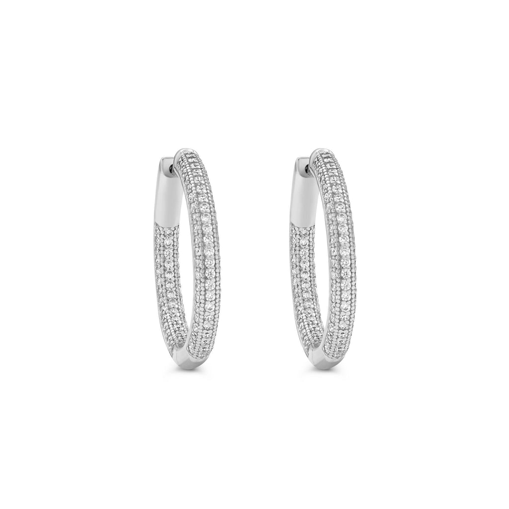 Camille Jewelry- Shop rhodium plated sterling silver pave hinged hoop earrings. Free shipping USA