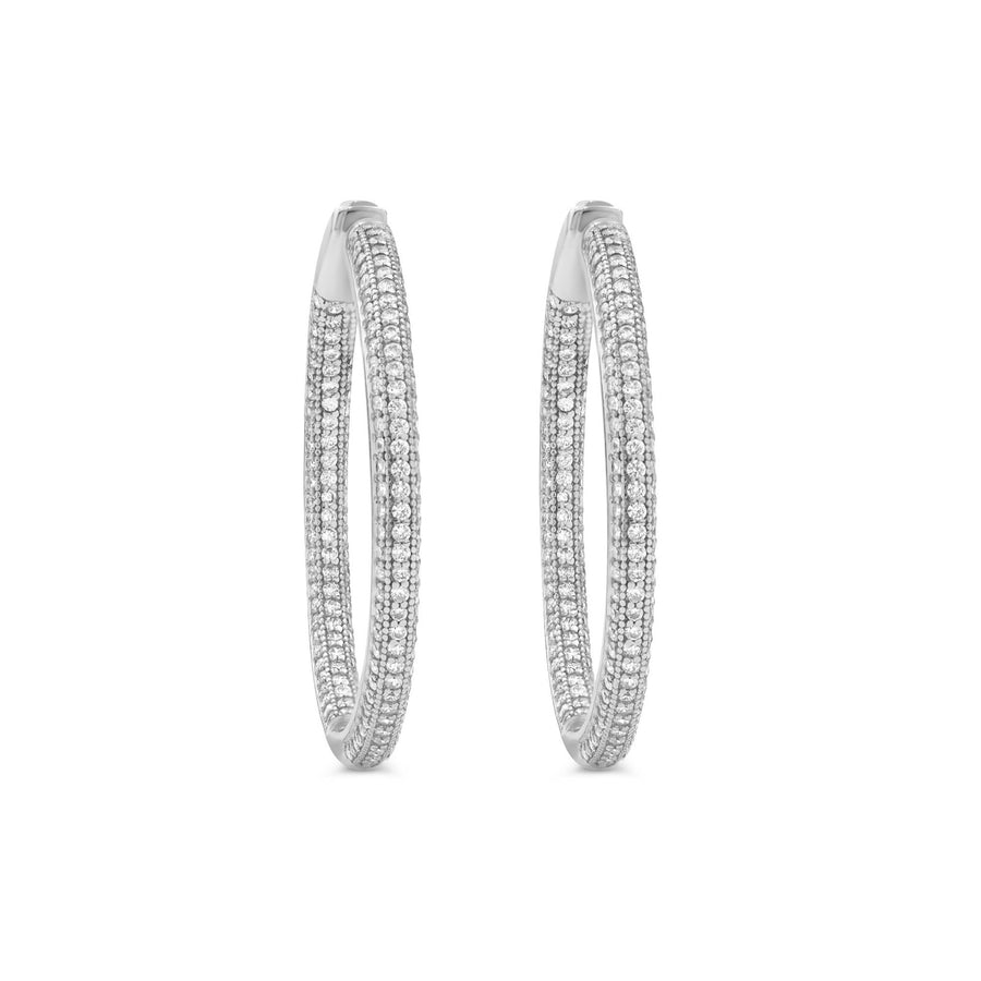 Camille Jewelry - Medium sterling silver pave hinged hoop earrings. Free Shipping
