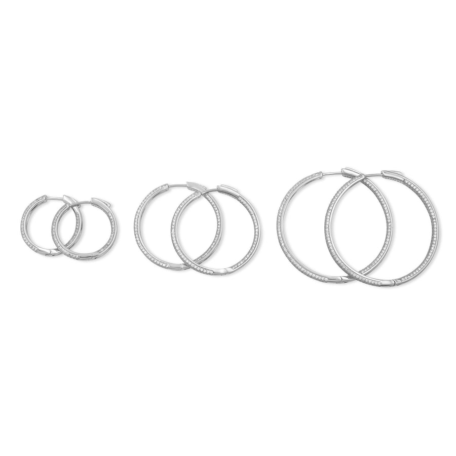 Sterling silver hinged hoop earrings ranging from small to large from Camille Jewelry