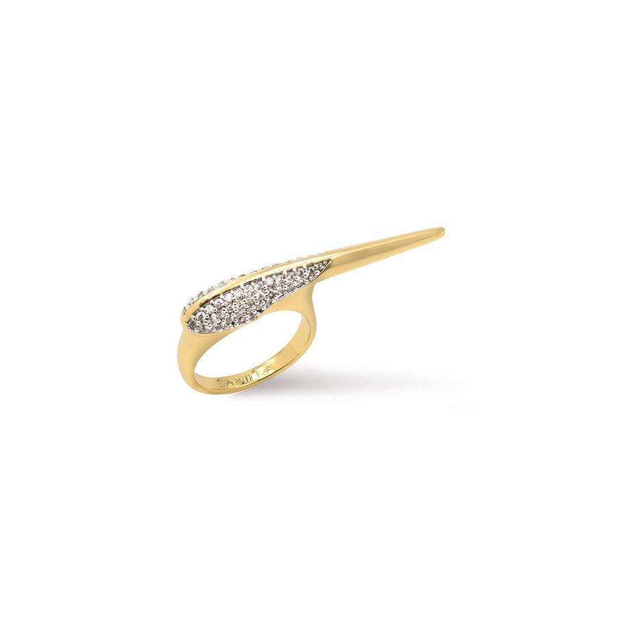 Gold plated crossover pave bird beak ring in cubic zirconia from Camille Jewelry. Free Shipping USA