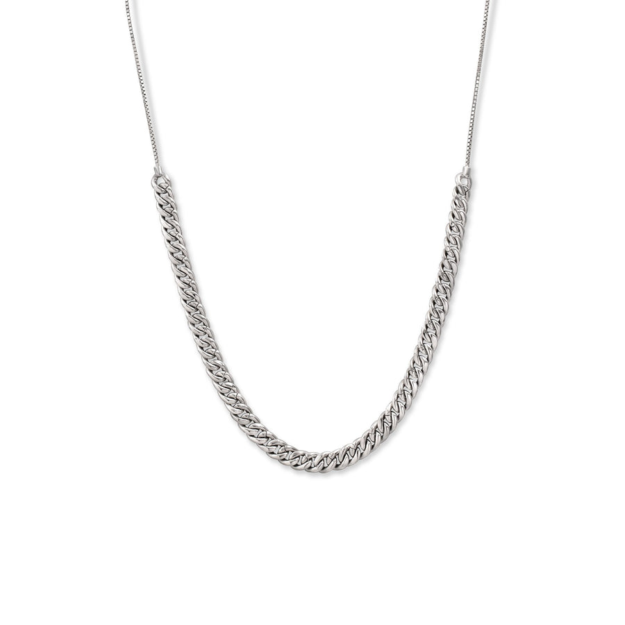 Sterling silver adjustable pave curb link necklace close up | Camille Jewelry