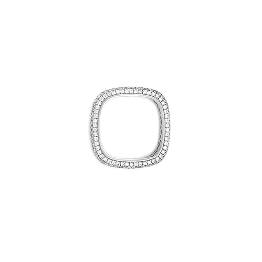 Sterling silver soft skinny square ring top view. Available at Camille Jewelry.