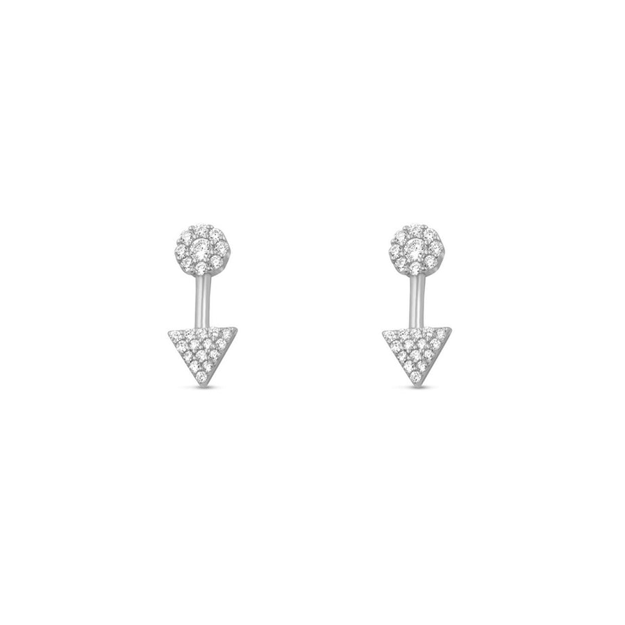 Sterling silver mini pave arrow stud earrings from Camille Jewelry