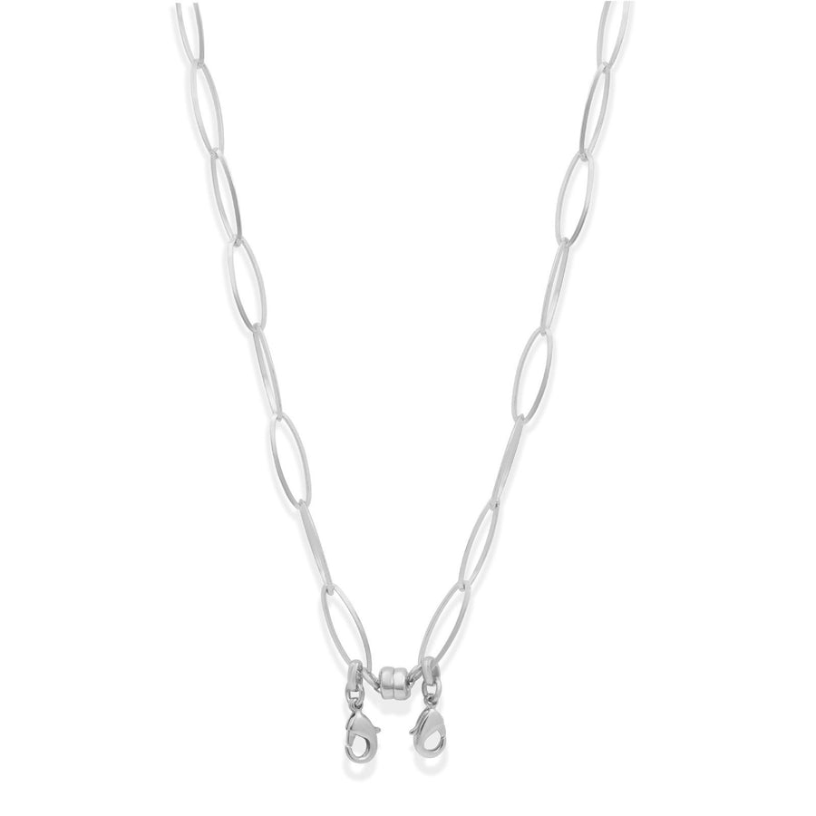 Convertible silver oval chain necklace made to hold your face masks | Camille Jewelry