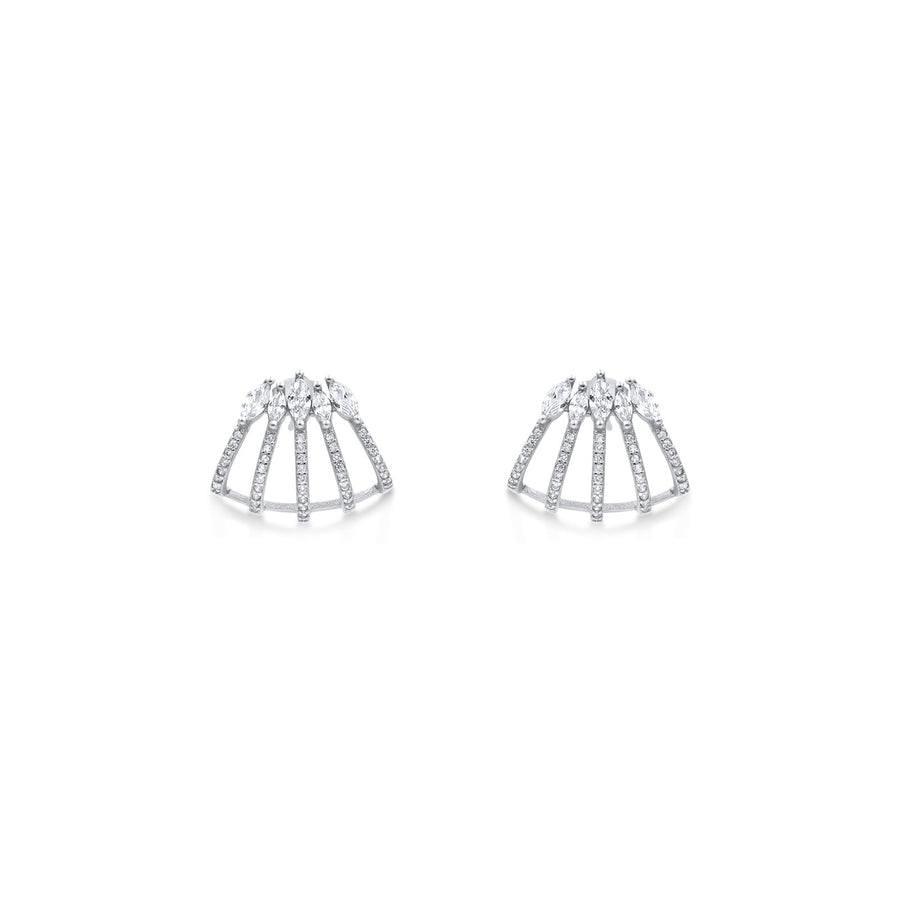 Camille Jewelry - Wrap sterling silver stud statement earrings.