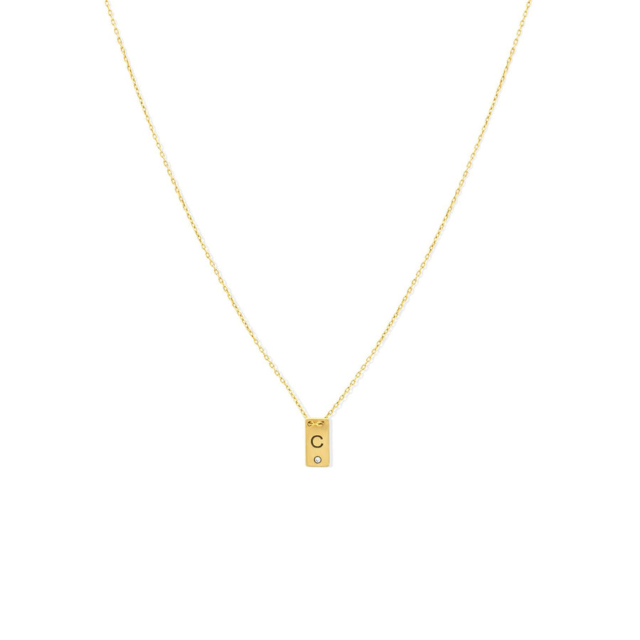 Camille Jewelry - Personalize your small plaque necklace with custom initial. Featured with a diamond accent. FREE shipping within USA