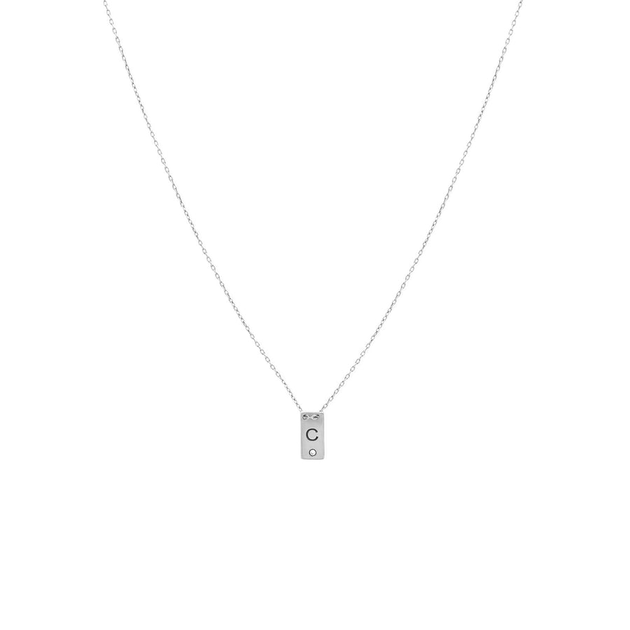 Camille Jewelry - Personalize your small sterling silver  plaque necklace with custom initial. Featured with a diamond accent. FREE shipping within USA