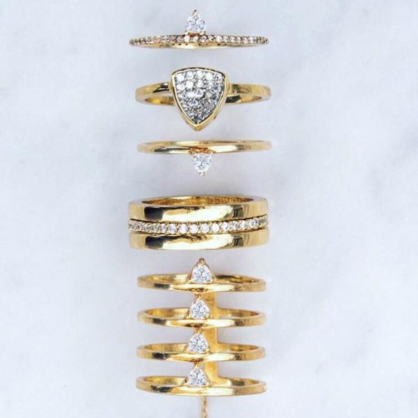 Camille Jewelry- Theia collection, 18K gold vermeil statement ring. Layered stack ring with cubic zirconia details. Free shipping USA.