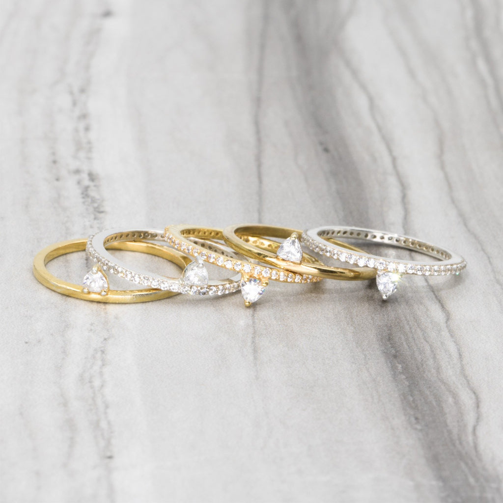 Camille Jewelry- Theia collection, 18 karat gold vermeil and sterling silver trillion skinny ring. Free shipping USA