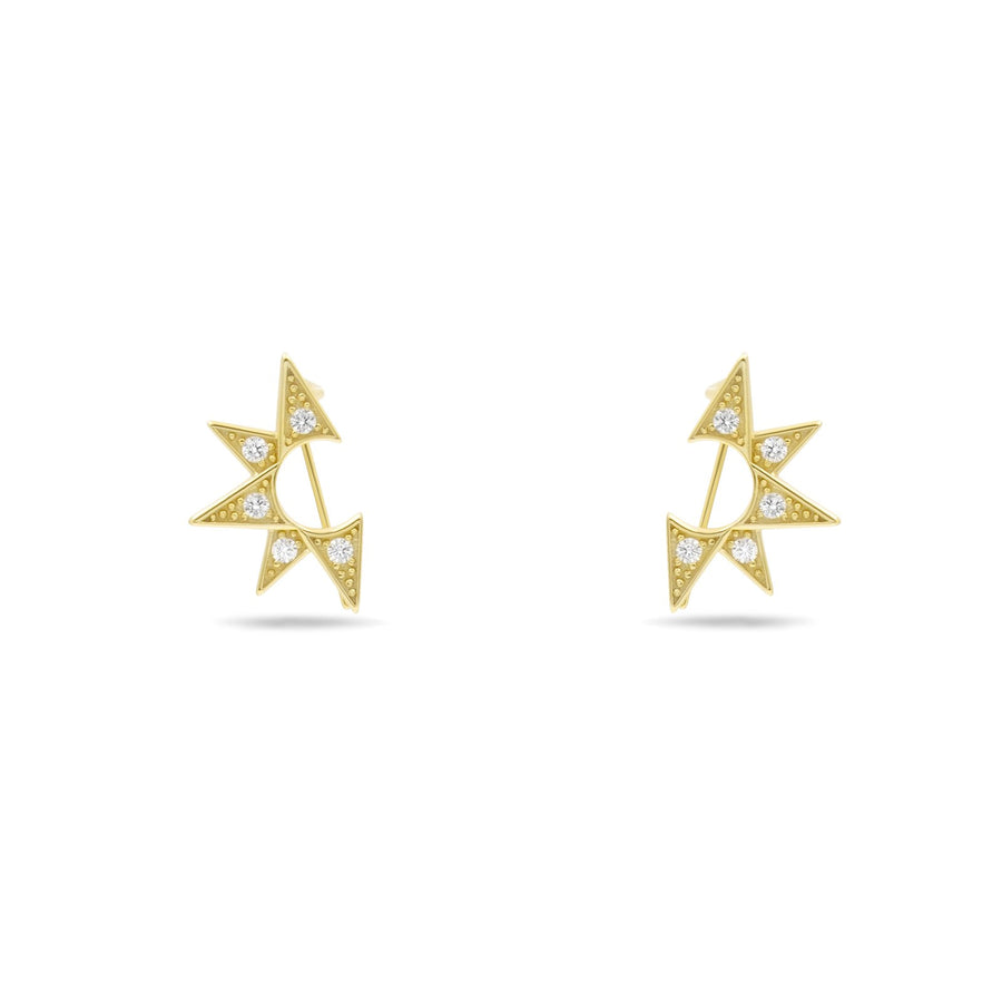 Camille Jewelry - Small gold starburst ear crawler in 14K gold vermeil