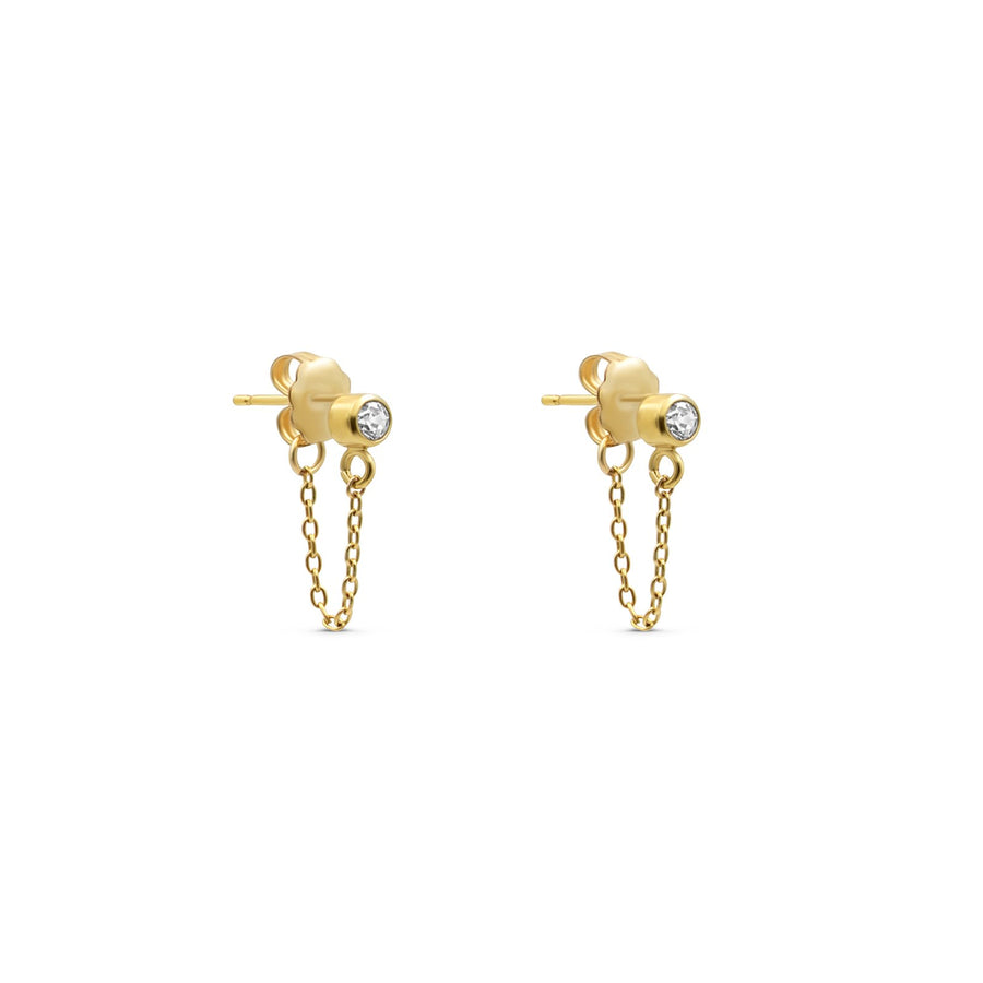 Camille Jewelry - Mini stone stud swag earrings in gold filled and cubic zirconia