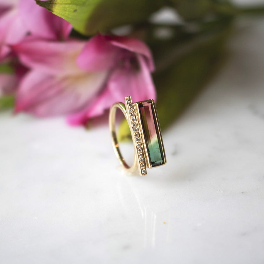 T bar in diamonds and watermelon tourmaline ring in 14K Gold | Camille Jewelry