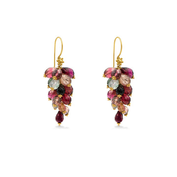 Camille Jewelry - 18K Gold genuine cluster tourmaline earring with shades of berries and greens.
