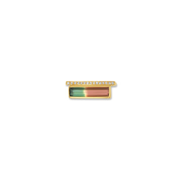 Exquisite rectangular watermelon tourmaline ring with diamond bar in 14 K yellow gold. | Camille Jewelry