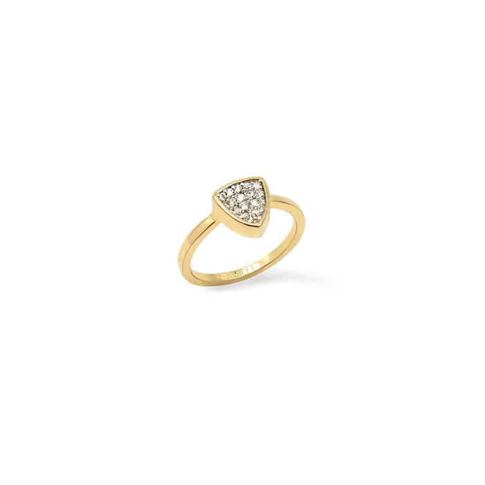 Camille Jewelry- Thyra collection, gold plated concave pave trillion ring in cubic zirconia. Free shipping USA