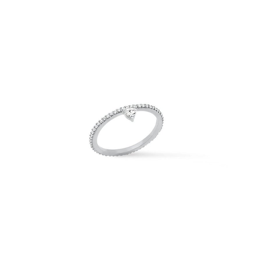 Camille Jewelry- Theia collection, rhodium plated sterling silver micro pave trillion skinny ring. Free shipping USA