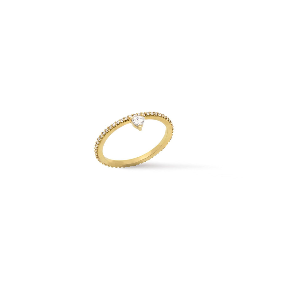 Theia collection, 18 karat gold vermeil micro pave trillion skinny ring | Camille Jewelry