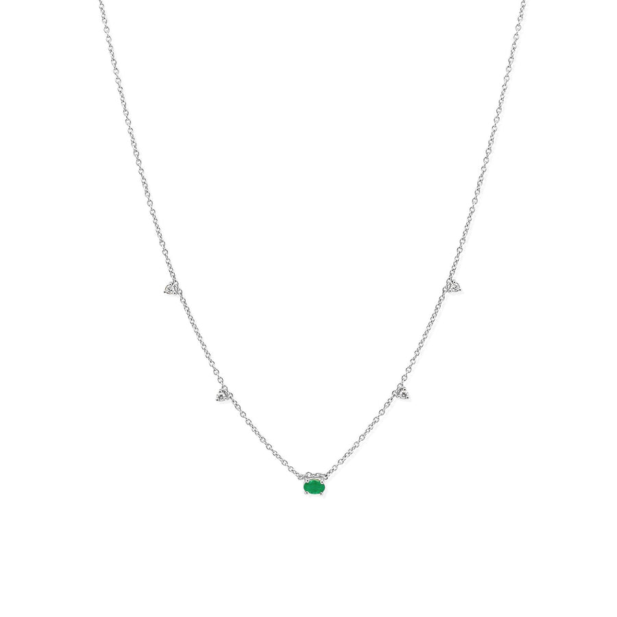 white gold with oval emerald and diamond accents | Camille Jewelry