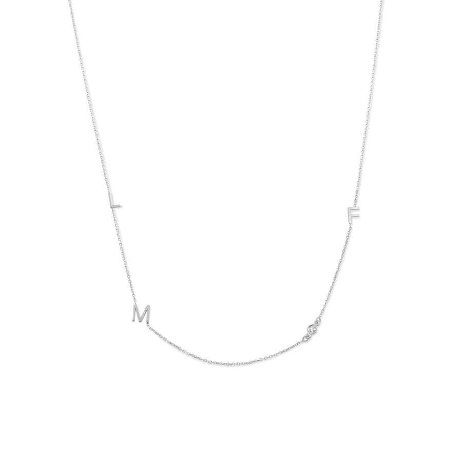 Camille Jewelry - Personalize your 14 karat white gold initial necklace with diamond accent.
