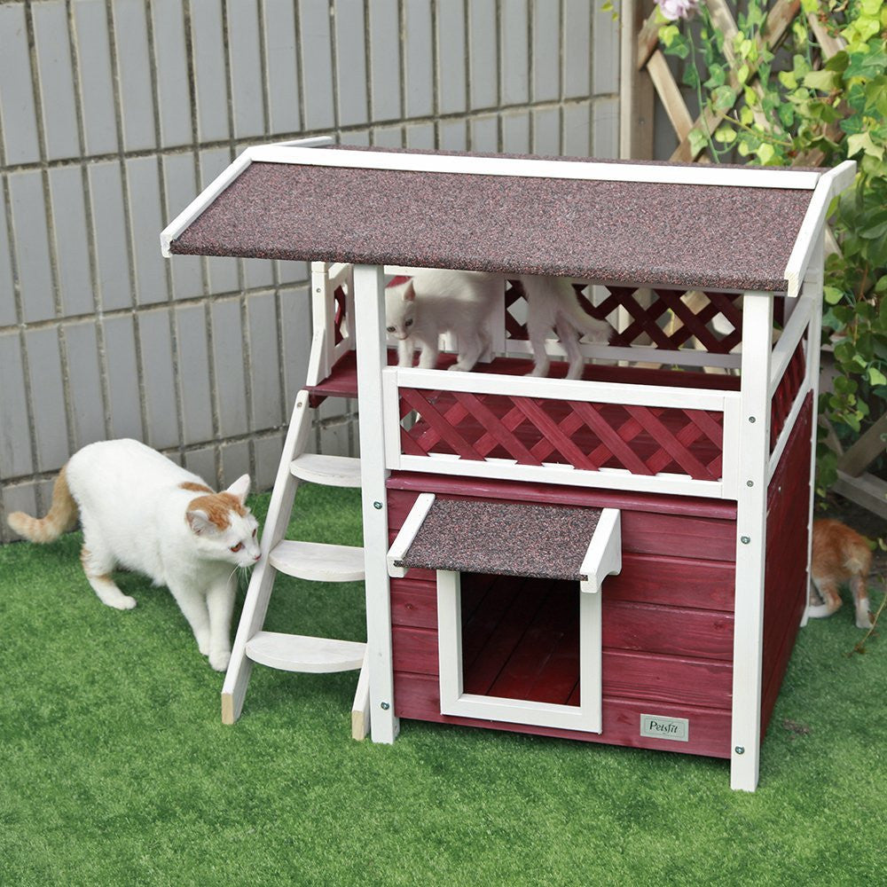 Petsfit  Wooden Cat House Red