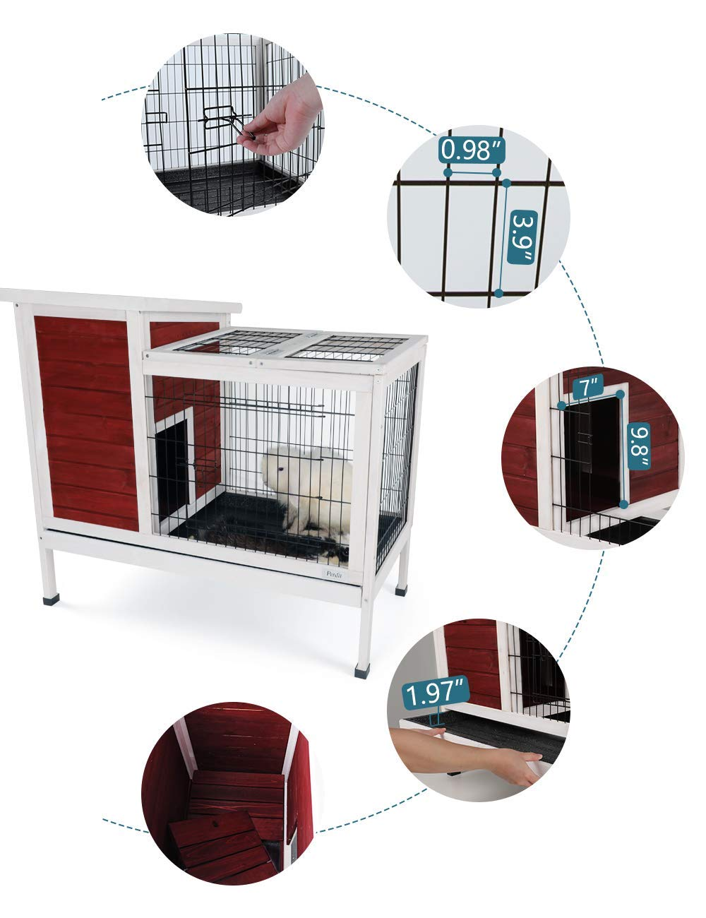 Petsfit Rabbit Hutch,Bunny Cage,Bunny Hutch Wood for Indoor Use